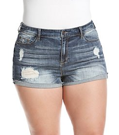Celebrity Pink Plus Size Destructed Roll Cuff Shorts
