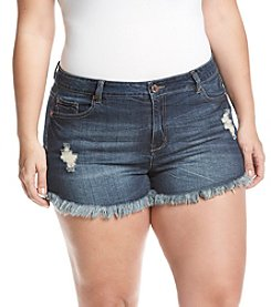 Celebrity Pink Plus Size Frey Hem Shorts