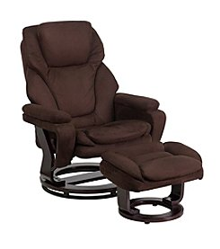 Flash Furniture Contemporary Microfiber Swivel Recliner and Ottoman