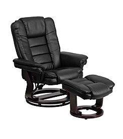 Flash Furniture Contemporary Leather Swivel Recliner and Ottoman