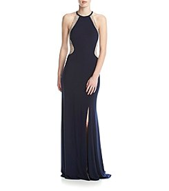 Xscape Beaded Side Long Dress