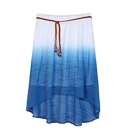 Amy Byer Girls' 7-16 Dip Dye Gauze Skirt With Belt