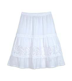 Amy Byer Girls' 7-16 Gauze Lace Inset Skirt