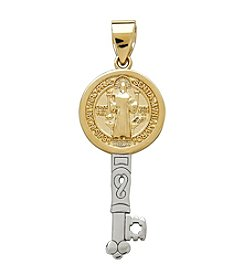 Polished Religious St. Benedict Key Pendant in 14K Yellow Gold