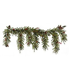 Northlight 6.5' Pre-lit Red Berry & Ball Ornament Artificial Christmas Garland