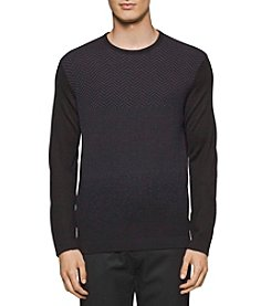 Calvin Klein Men's Merino Herringbone Crew Neck Sweater