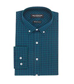 Nick Graham® Men's Tartan Check Button Down Collar Long Sleeve Dress Shirt
