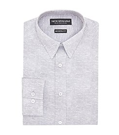 Nick Graham® Men's Textured Print Point Collar Long Sleeve Dress Shirt