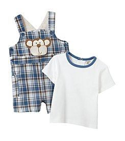 Cuddle Bear® Baby Boys Plaid Monkey Overall Set