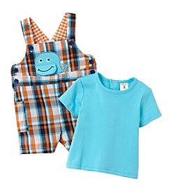 Cuddle Bear® Baby Boys 2-Piece Whale Shortalls Set