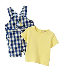 Cuddle Bear® Baby Boys 2-Piece Sailboat Shortall Set