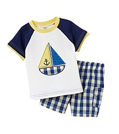 Cuddle Bear® Baby Boys 2-Piece Sailboat Top And Plaid Shorts Set