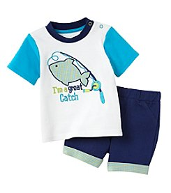 Cuddle Bear® Baby Boys 2-Piece Fish Top And Shorts Set