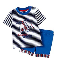 Cuddle Bear® Baby Boys 2-Piece Helicopter Top And Short Set