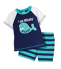 Cuddle Bear® Baby Boys 2-Piece Whaley Top And Shorts Set