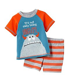 Cuddle Bear® Baby Boys 2-Piece Monster Top And Short Set