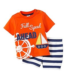 Cuddle Bear® Baby Boys 2-Piece Full Speed Top And Short Set