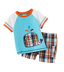 Cuddle Bear® Baby Boys 2-Piece Whale Top And Plaid Shorts