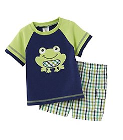 Cuddle Bear® Baby Boys 2-Piece Frog Top And Plaid Shorts Set