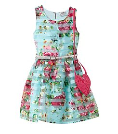 Beautees Girls' 2T-6X Floral Striped Skater Dress