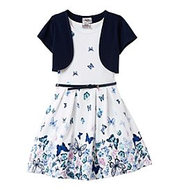 Beautees Girls' 2T-6X Butterfly Dress With Cardigan And Belt