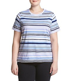 Studio Works® Plus Size Striped Crew Tee