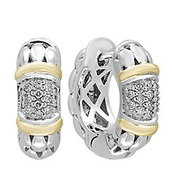 Effy® 925 Sterling Silver and 18K Yellow Gold .21 ct. t.w. Diamond Earrings