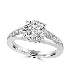 Effy® 14K White Gold .33 ct. t.w. Diamond Miracle Plate Ring