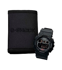 G-Shock Men's Matte Black Resin Digital Watch & Wallet Gift Set