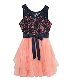 Rare Editions® Girls' 7-16 Lace Bodice and Tiered Skirt Dress