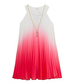 Rare Editions® Girls' 7-16 Ombre Pleated Chiffon Dress