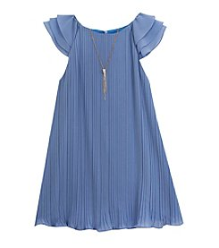 Rare Editions® Girls' 2T-6X Crystal Pleated Cap Sleeve Dress