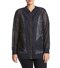 Living Doll® Plus Size Lace Bomber Jacket