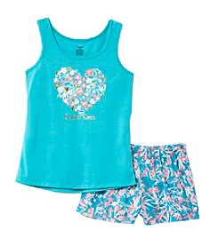 Calvin Klein Girls' 5-16 2-Piece Heart Top And Shorts Pajama Set
