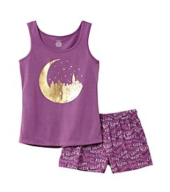 Calvin Klein Girls' 5-16 2-Piece Moon City Top And Shorts Pajama Set