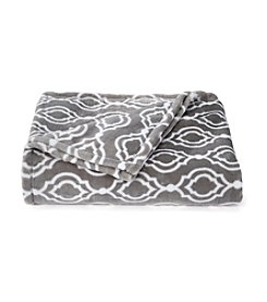 Living Quarters Grey Trellis Luxe Plush Throw