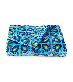 LivingQuarters Blue Tile Luxe Plush Throw