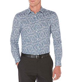 Perry Ellis® Men's Long Sleeve Printed Linear Texture Button Down Shirt