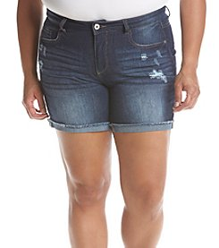 Hippie Laundry Plus Size Destructed Frey Hem Shorts