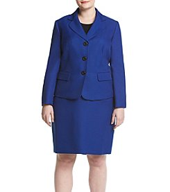 LeSuit® Plus Size Three Button Jacket And Skirt Suit