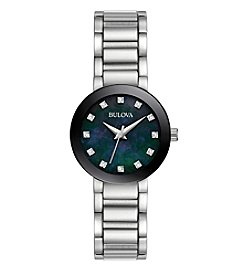 Bulova® Women's Silvertone Diamond Black Mother Of Pearl Dial Watch