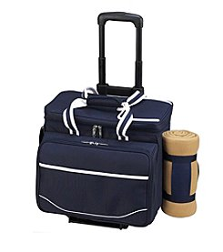Picnic at Ascot Deluxe Wheeled Picnic Cooler for 4 with Blanket