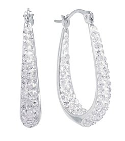 Athra Silver-Plated Crystal Hoop Earrings