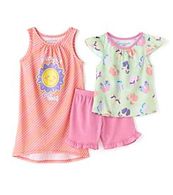 Komar Kids Girls' 2T-6X 3-Piece Suns Out Sleepwear Set