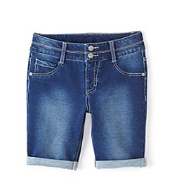 Miss Attitude Girls' 7-16 Knit Denim Bermuda Shorts