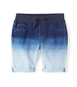 Miss Attitude Girls' 7-16 Dip Dye Knit Wasit Denim Bermuda Shorts