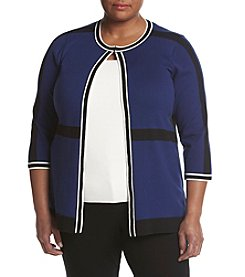 Kasper® Plus Size Open Trim Cardigan
