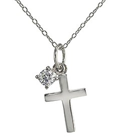 Designs by FMC Sterling Silver Cross Pendant Necklace with Cubic Zirconia Solitaire Charm