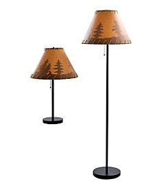 Catalina Lighting Lodge Table and Floor Lamp Set