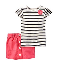 Carter's® Girls' 4-8 2-Piece Striped Short Sleeve Top And Skirt Set